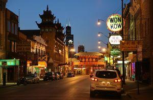 Chicago Chinatown at Night