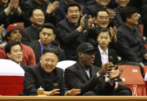 Jason Mojica/VICE Media, via Associated PressThe North Korean leader, Kim Jong-un, and the former N.B.A. star Dennis Rodman watched an exhibition basketball game in Pyongyang on Thursday.