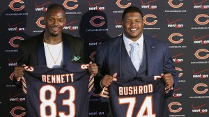 (AP Photo/Charles Rex Arbogast)The Bears unveiled their free agent additions in Martellus Bennett and Jermon Bushrod on Wednesday.