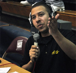 Tim McKinney broadcasting a game at a Triton College