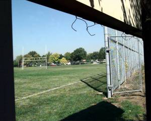 Practice field at Rolling Meadows High School where seventeen-year-old Rob Komosa was injured during football practice. — Hung T. Vu, Chicago Tribune , Oct. 7, 1999, the day after the accident.