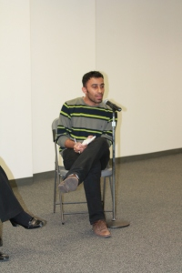 Arez Hussen, 22, discusses the difficulties of being a journalism in Iraq with the political propaganda.