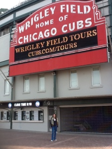 Lisa Taylor visiting Wrigley Field while in Chicago looking for employment.