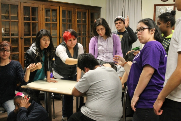 Coriano acts out scenes with her classmates which involve violence Photo: Katherine Iorio