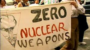 Protesters in London demand a halt in UK's Nuclear Weapon use.