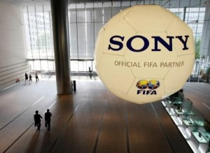 A large soccer ball-shaped installation promoting Sony Corp's partnership with FIFA is hung at Sony Corp's headquarters in Tokyo June 19, 2009. KIM KYUNG-HOON / Via reuters.com