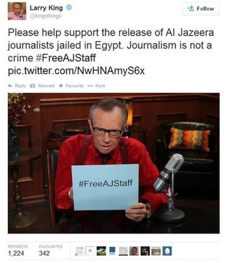 Larry King showing his support for the #FreeAJStaff campaign on his Twitter page. Larry King / Via Twitter: @kingsthings